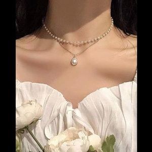 Pearl & Chain, Pendant Necklace